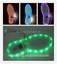 2016 new design usb rechargeable 11 function colorful led shoe waterproof light