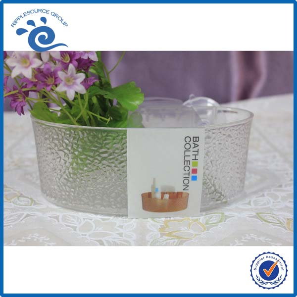 Crystal clear Engraved PS Plastic Bath Shower Caddy With Suction cup