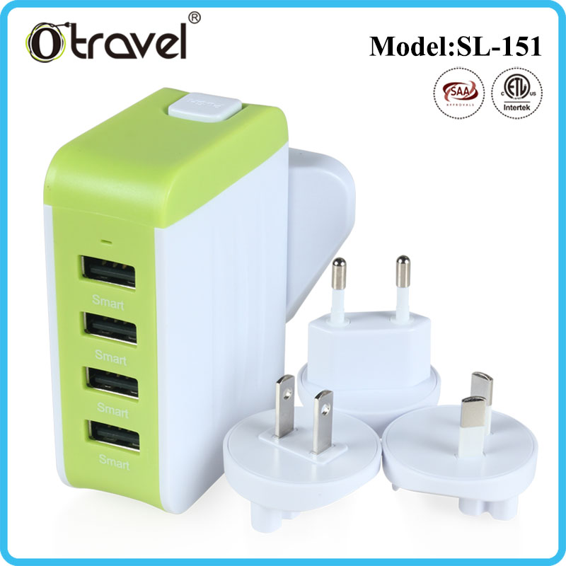 2016 New Universal International Plug Adapter 4 USB Port World Travel AC Power Charger Adaptor with AU US UK EU converter Plug