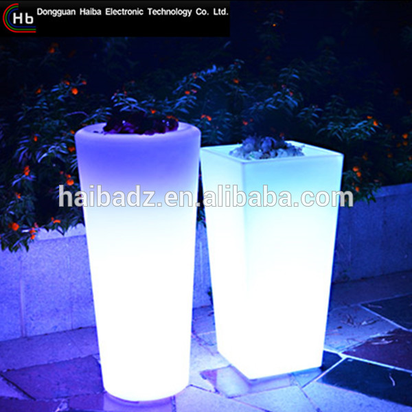 LED colorful led illuminated flower pot outdoor large home goods flower pots plastic flower pot trays rectangular