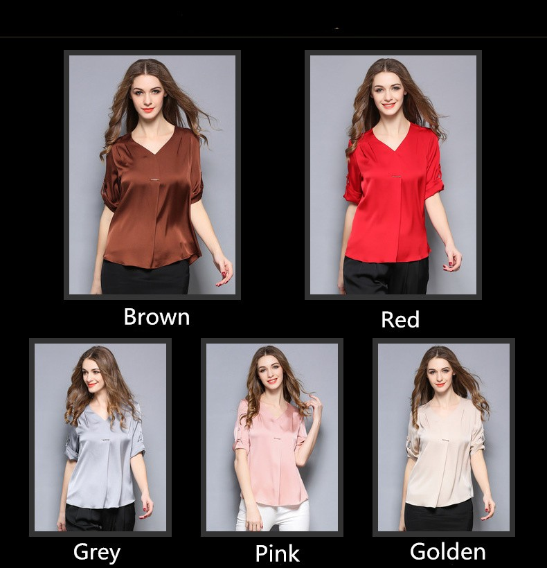 Summer new style high range V neck pure color short sleeve 100% silk blouse