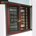 New burglar proof wooden color design casement window with retractable insect screens