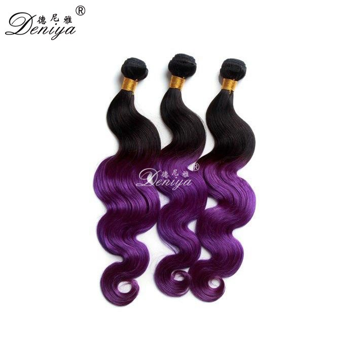 Dark Root Colored Ombre Three Tone 1b/purple Body Wave Hair Weaving