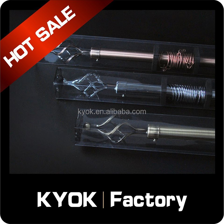 KYOK Hot sale extension single/double curtain pole, adjustable shower decorative rod wholesale, fancy tube finial/ends