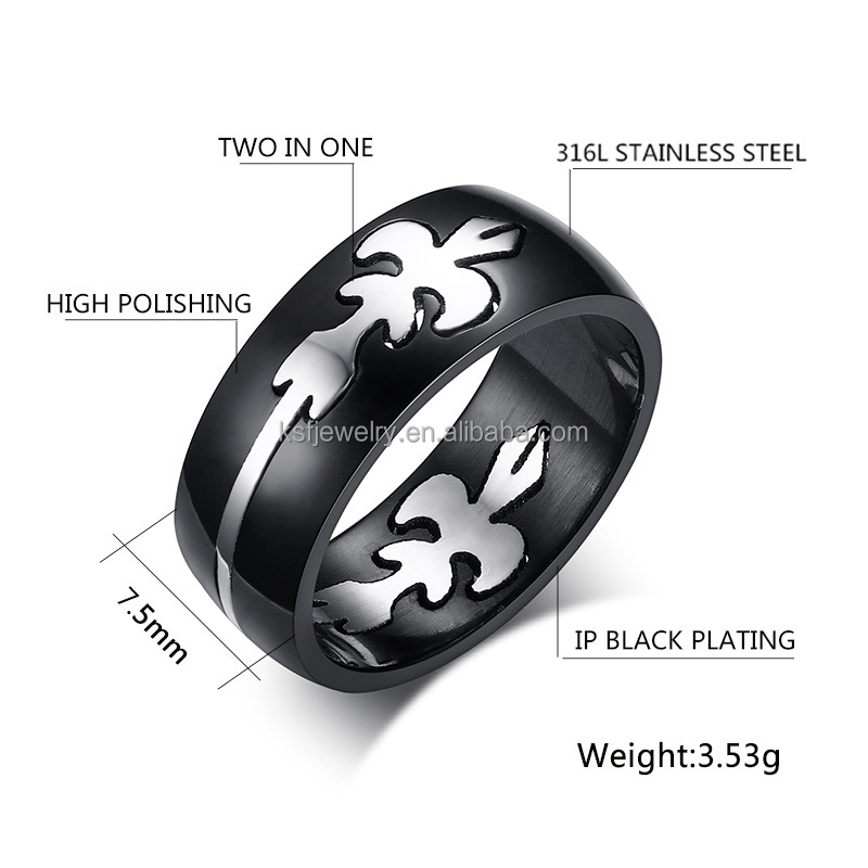 Fashion Stainless Steel Polished Two In One Ring Two Tones Ring