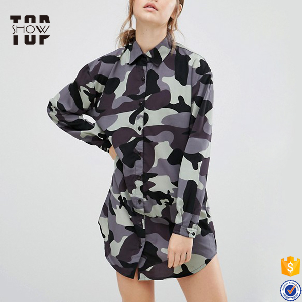 Custom streetwear clothing sexy women camouflage dress short shirt dresses