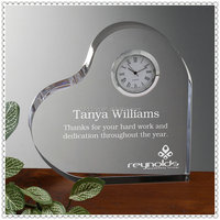 Romantic Engraving Crystal Heart Clock Gifts For Wedding Souvenir
