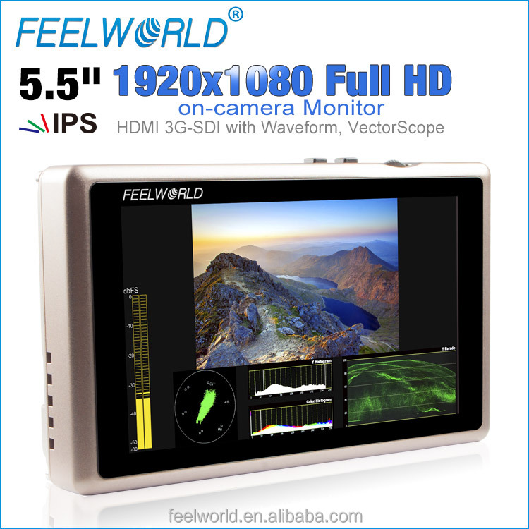 Feelworld 5.5 inch dslr 3 axis brushless gimbal HDMI SDI Full HD monitor G55