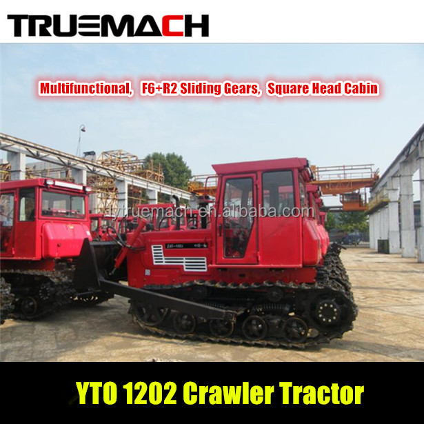YTO 1202 120hp agricultural crawler tractor with square head cabin