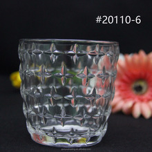 2017 new design embossed clear glass candle holder, folk style embossed candle jars