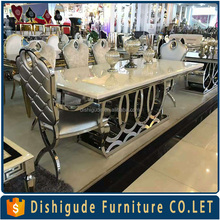2017 New design 10 seater marble top stainless steel leg rectangle dining table