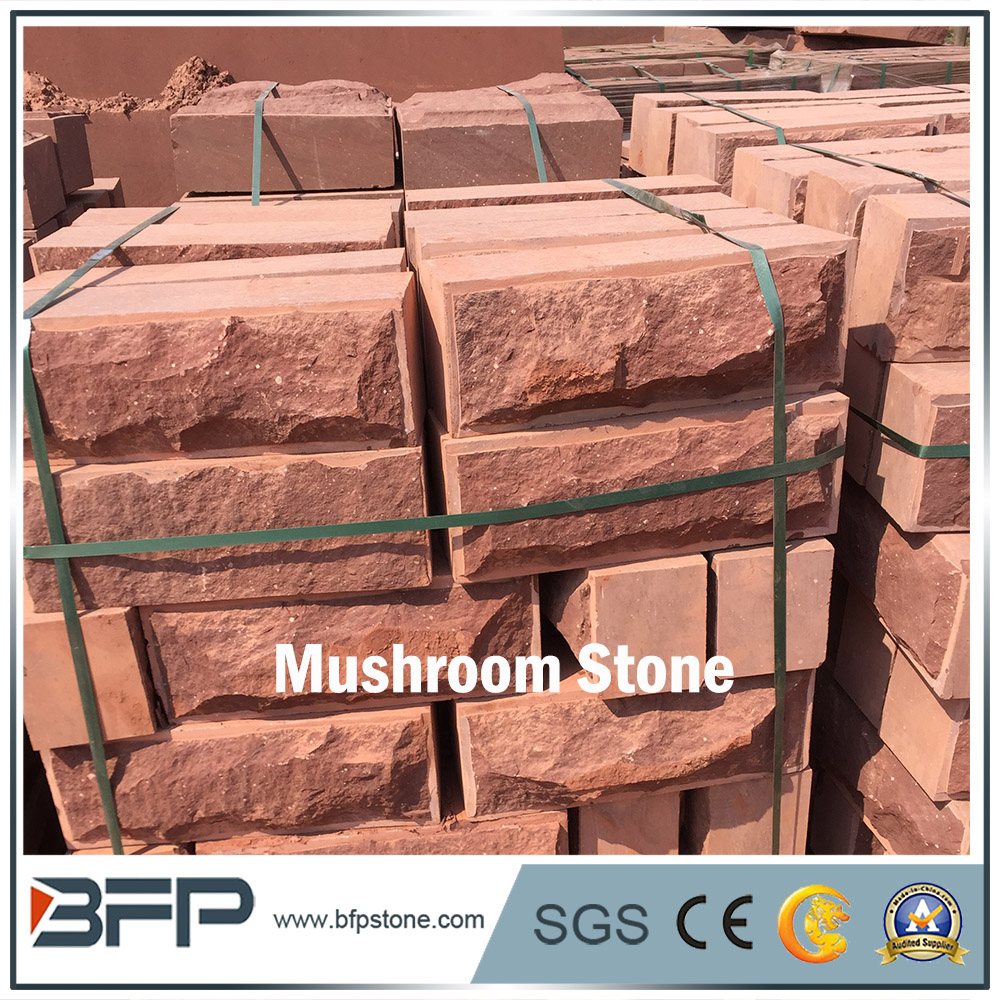 Red & Yellow Natural Split Surface Sandstone Mushroom for Featured Wall Cladding