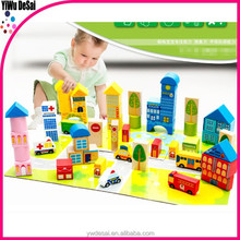 62 grain a barrel of The urban traffic scenes building block wooden educational toy