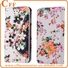 "For iPhone 4 4s 3.5"" Floral Flip Wallet Leather Case Diamonds pearls Flowers Pattern Snap on PU Leather Phone Funda Coque"