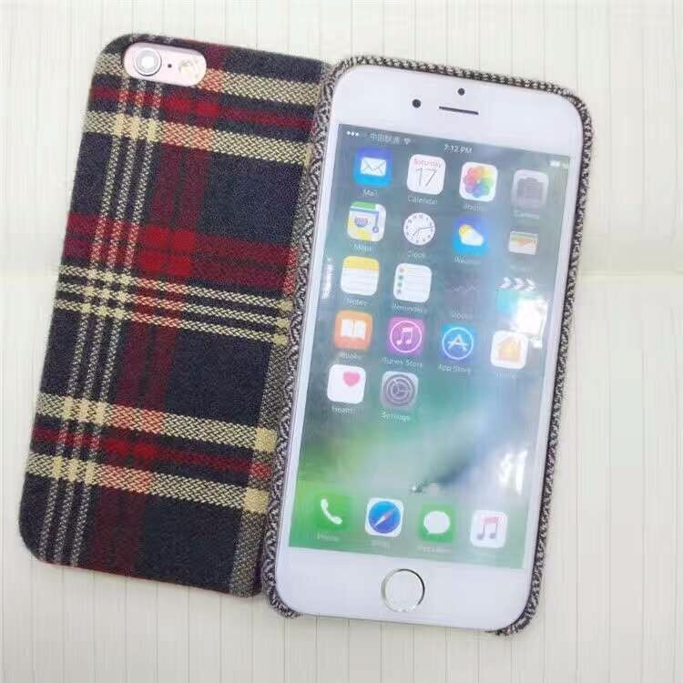 Brand New Luxury Retro Plaid Pattern PC Cloth Phone Case For iPhone 7 iphone 6 Plus Fashion Grid Back Cover