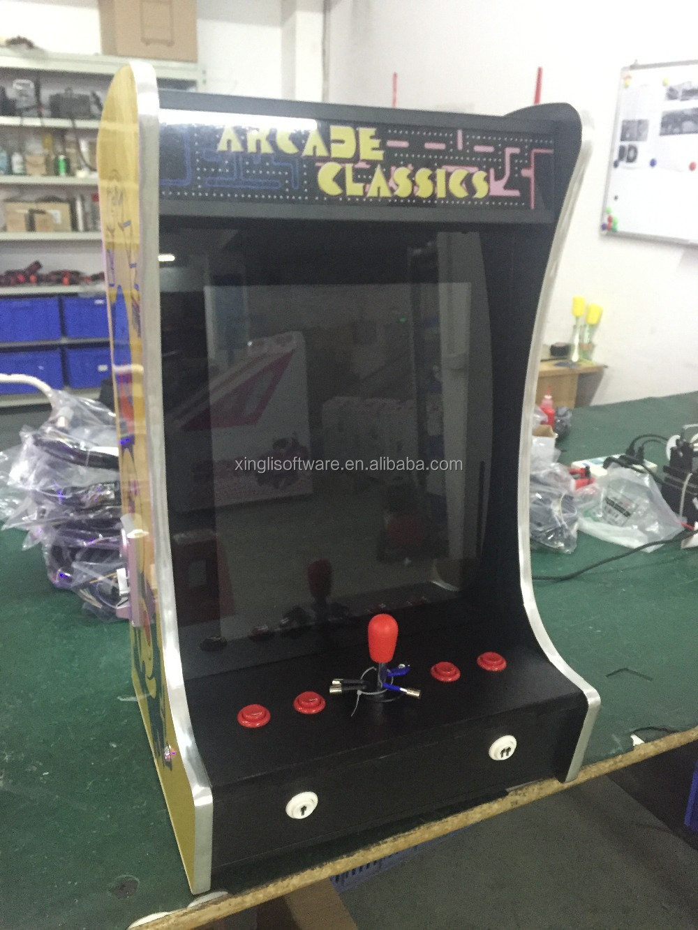 19 inch LCD Mini Bartop Cocktail Machine With Classical games 60 in 1 Game PCB with Spainish joystick and American button