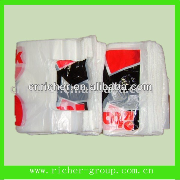 plastic t-shirt bag with customized size with logo for supermarket/grocery/wholesaler/shopping china manufacturers