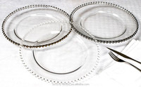 Glass charger plates wholesale clear 13'' charger plates