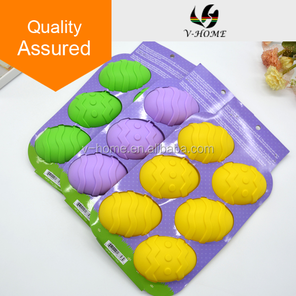 New Design Bakeware 6-Cup Ester Egg 100% silicone soap molds