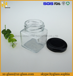 black lid clear glass jar jam