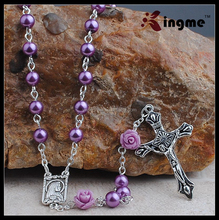 6mm Purple Glass Pearl Beads Catholic Rosary with Lourdes Center Piece