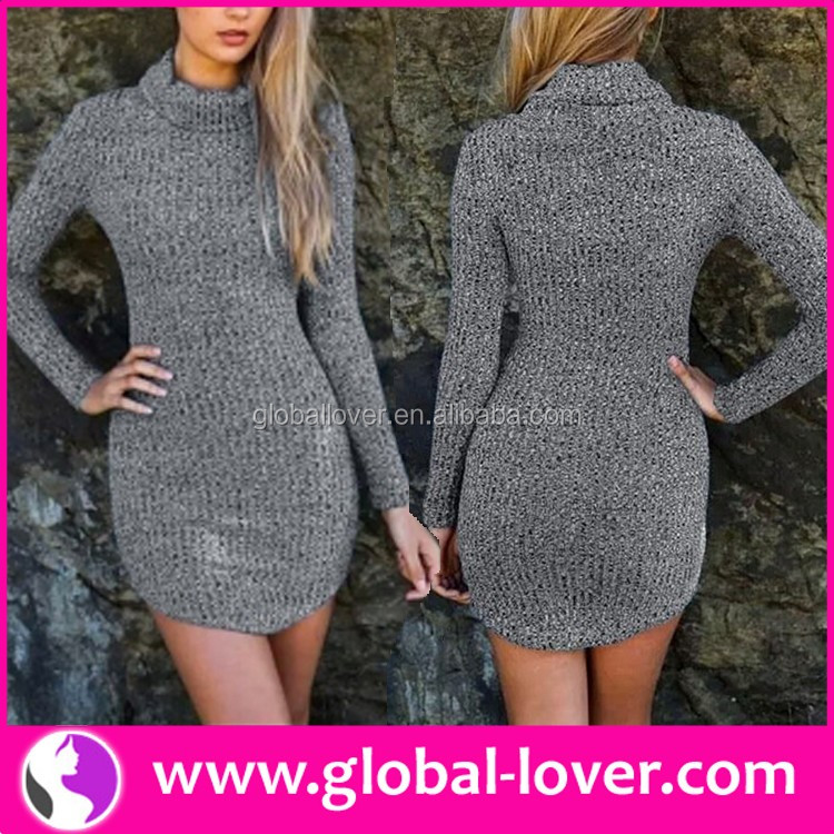 Wholesale women latest turtleneck casual dress designs of winter