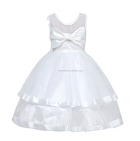 Children White sweet floral wedding dress kids clothes girls birthday party dresses