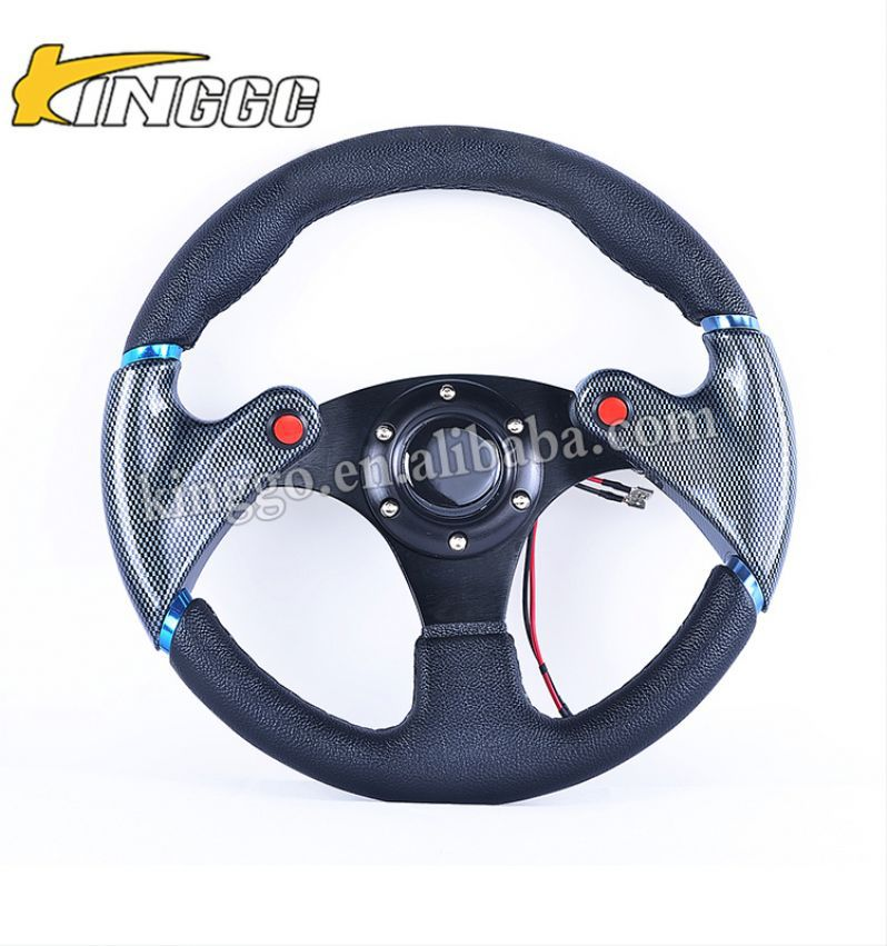 Newest Interior Accessories deep dish pvc oem 14 inch 350mm red steering wheels with horn button