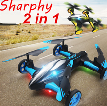 Factory Price 2016 New Remote control JJRC H26 2 in 1 aircraft race drone car for sale with LED light