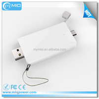 400mah Li-polymer battery small size slim mobile power bank with hidden USB ports