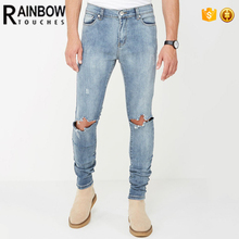 2017 Tops Cheap Wholesale Bulk Jeans Pants Mens Ripped Knee Jeans