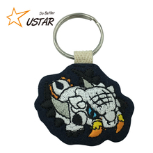 New fashion promotional cartoon embroidered keyring,personalized wholesale fabric keychains key tags