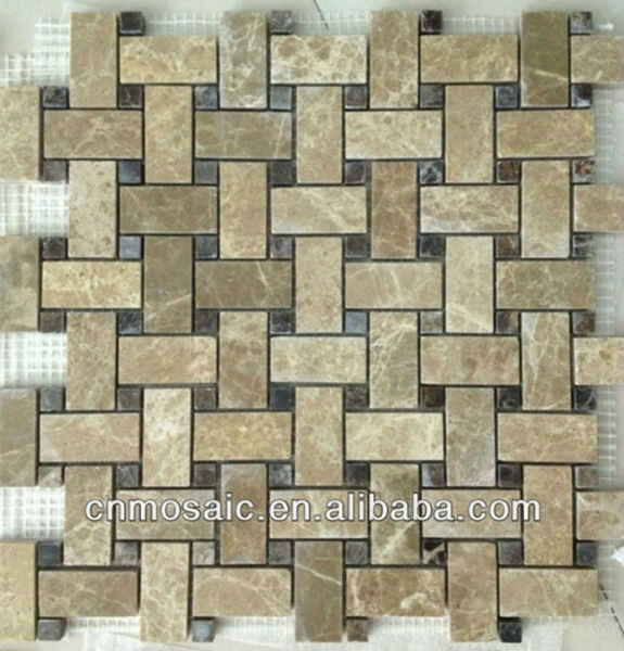 light and dark emperador marble stone mosaic border