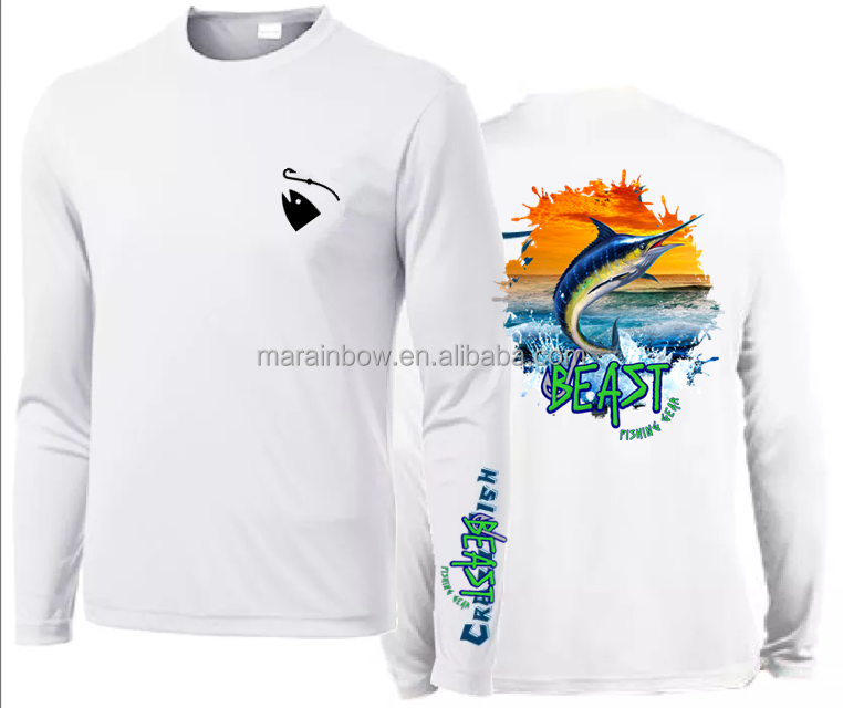 Wholesale UPF 50 Fishing Shirts Quick Dry Fishing Clothing Dry Fit Fishing Wear custom sublimation printing