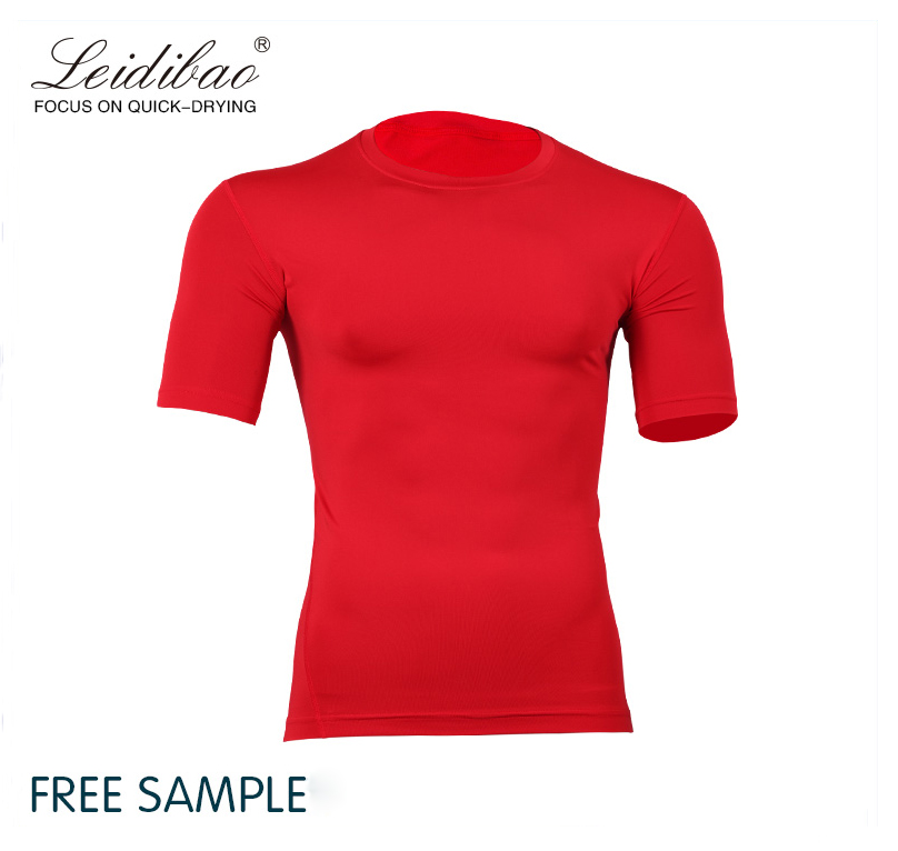 Dri Fit Shirts Wholesale Gym Red Wear Compression Short Sleeves Training Jogging Wear