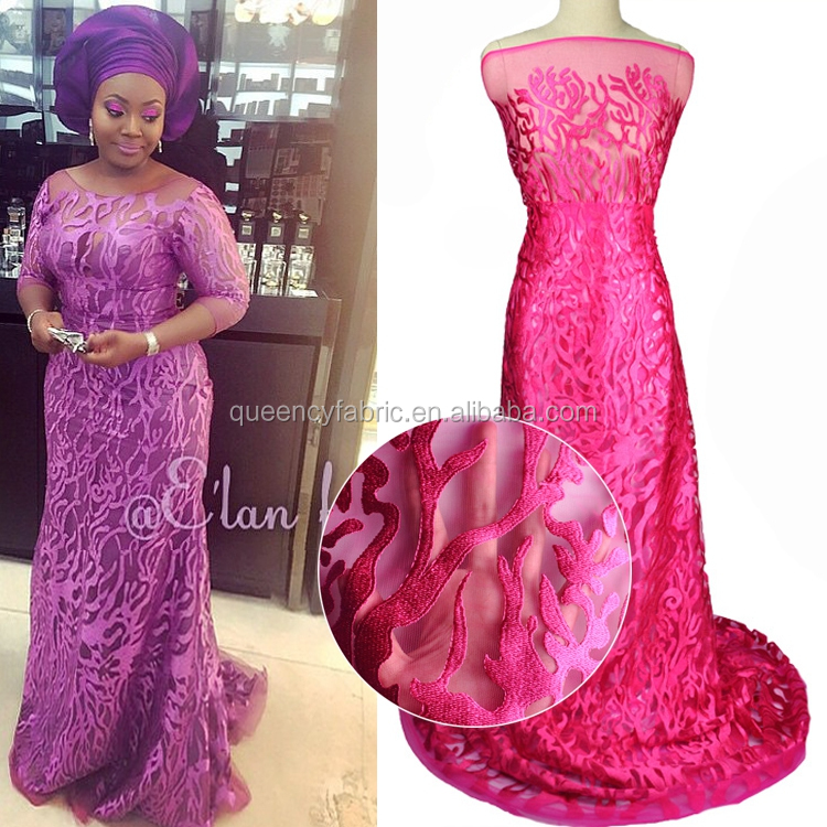NQ230 Queency 2017 High Quality Custom Embroidered African Bridal Cotton Tulle Lace Fabric
