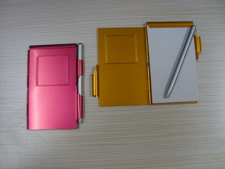 Useful aluminium note case with mini pen and notepad