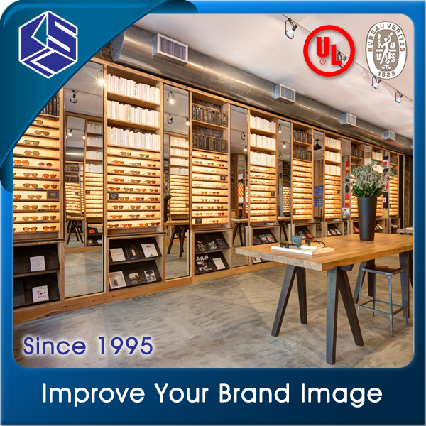 Nature wood color optical shop fixture wall mounted eyewear display stand