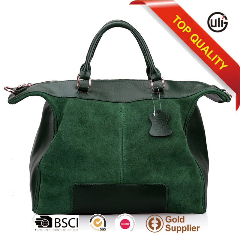 Genuine leather woman handbag manufacturers big volume suede tote bags