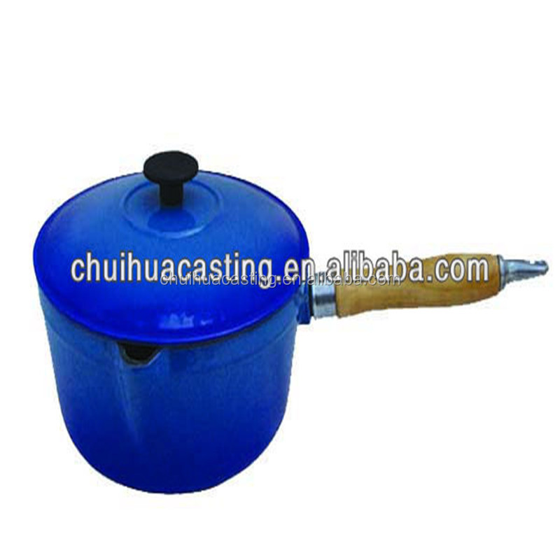 Blue cast iron sauce mini pot with wood and stainless steel handle
