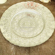 Hot selling silver color crystal glass charger plates