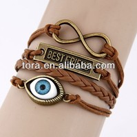 brown leather woven bracelet gold plated evil eye bracelet