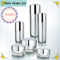 60ml oblate shape cosmetic acrylic lotion pump bottle,50ml silver color acrylic bottle,30g gold cosmetic packaging