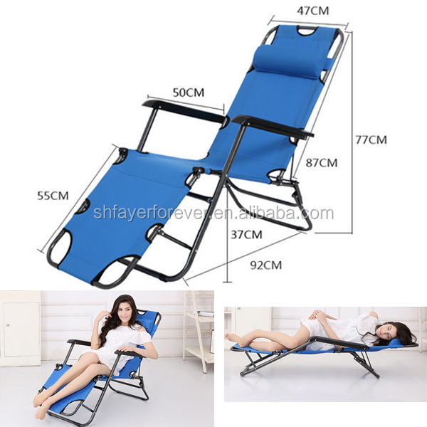 3 in 1 Foldable Blue Portable Folding Beach Mat Chair for Reading Ostrich Lounge Chaise