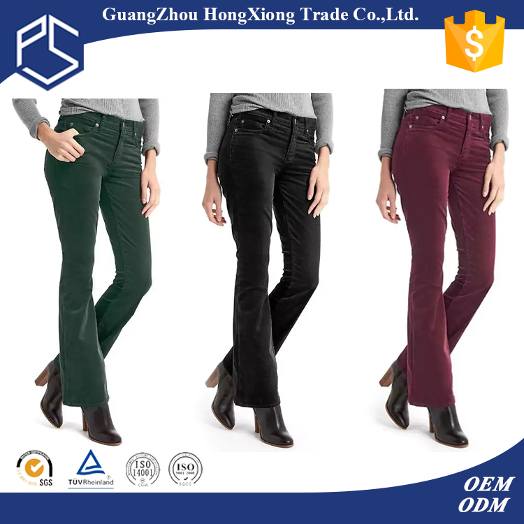 Hot Selling Cotton Women Different Colour Bell Bottom Trousers Cutting