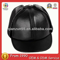 Winter Genuine Leather Men Baseball Winter hat With Earflaps