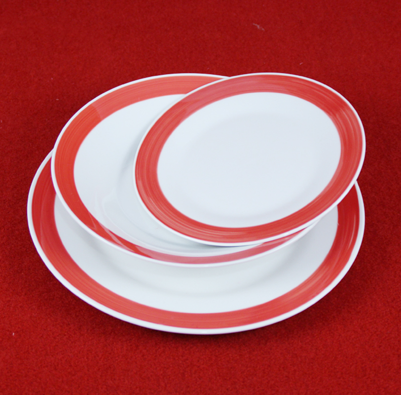 Orange color rim decaled tableware dinner set\ceramic dinner set