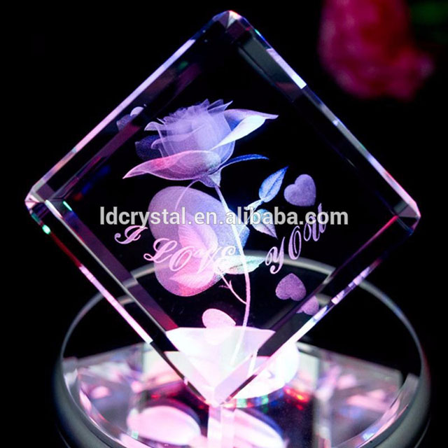 Hot new products gift rose flower 3D laser engraved <strong>crystal</strong>