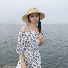 Z90260B 2017 Newest summer hot floral elegant women dress with lantern sleeve & waist for yong sexy ladies