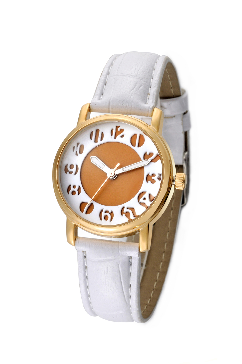 2015 stainless case back special design dial PU leather band lady wrist watch